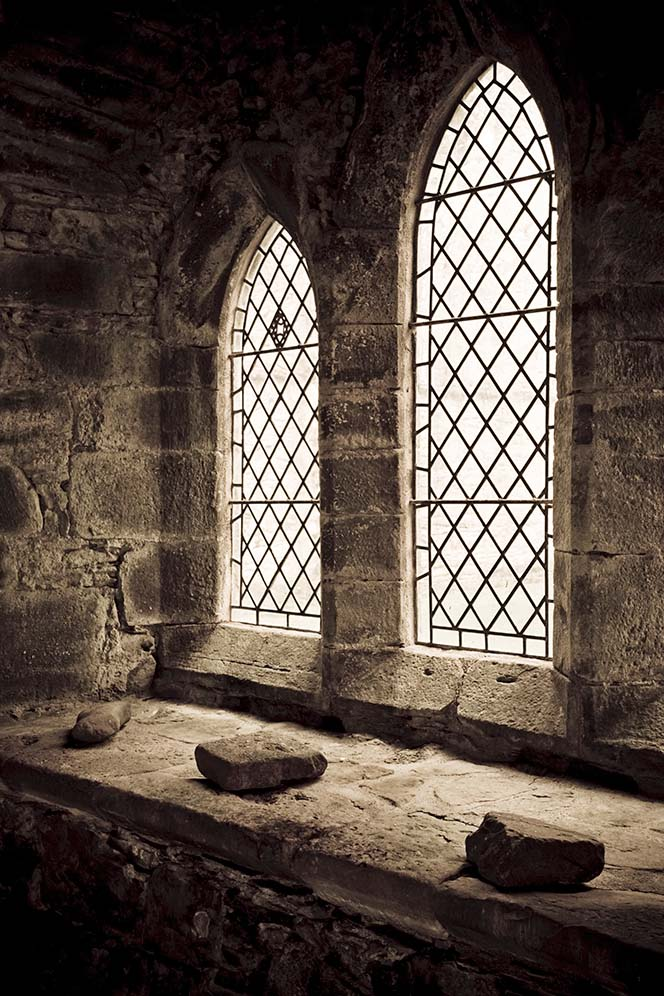 Windows in the chapel of Inchmahome Priory on an island in the middle of the Lake of Mentieth near Stirling, Scotland